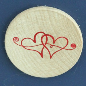 Hot Stamped Red Hearts on Wood