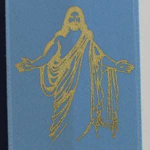 Hot Stamped Religious Icon on Ribbon