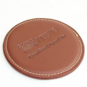 Hot Stamp Debossing on Leather Coaster