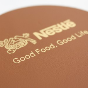 Hot Stamp Embossing on Leather Coaster